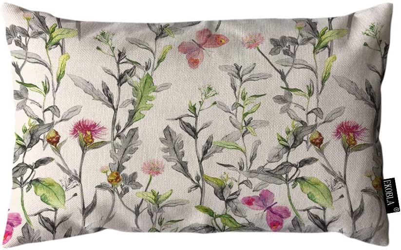 EKOBLA Throw Pillow Cover Herbs Meadow Garden Flowers Grass Watercolor Floral Beautiful Butterfly Rectangular Throw Pillow Covers for Couch Sofa Home Decor Cotton Linen 12x20 Inch