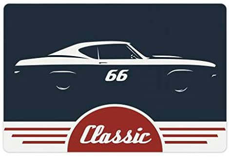 Lunarable Man Cave Pet Mat for Food and Water, Classic Vintage Sports Car Muscle Vehicle Silhouette Old Fashioned Style, Rectangle Non-Slip Rubber Mat for Dogs and Cats, Night Blue Red White