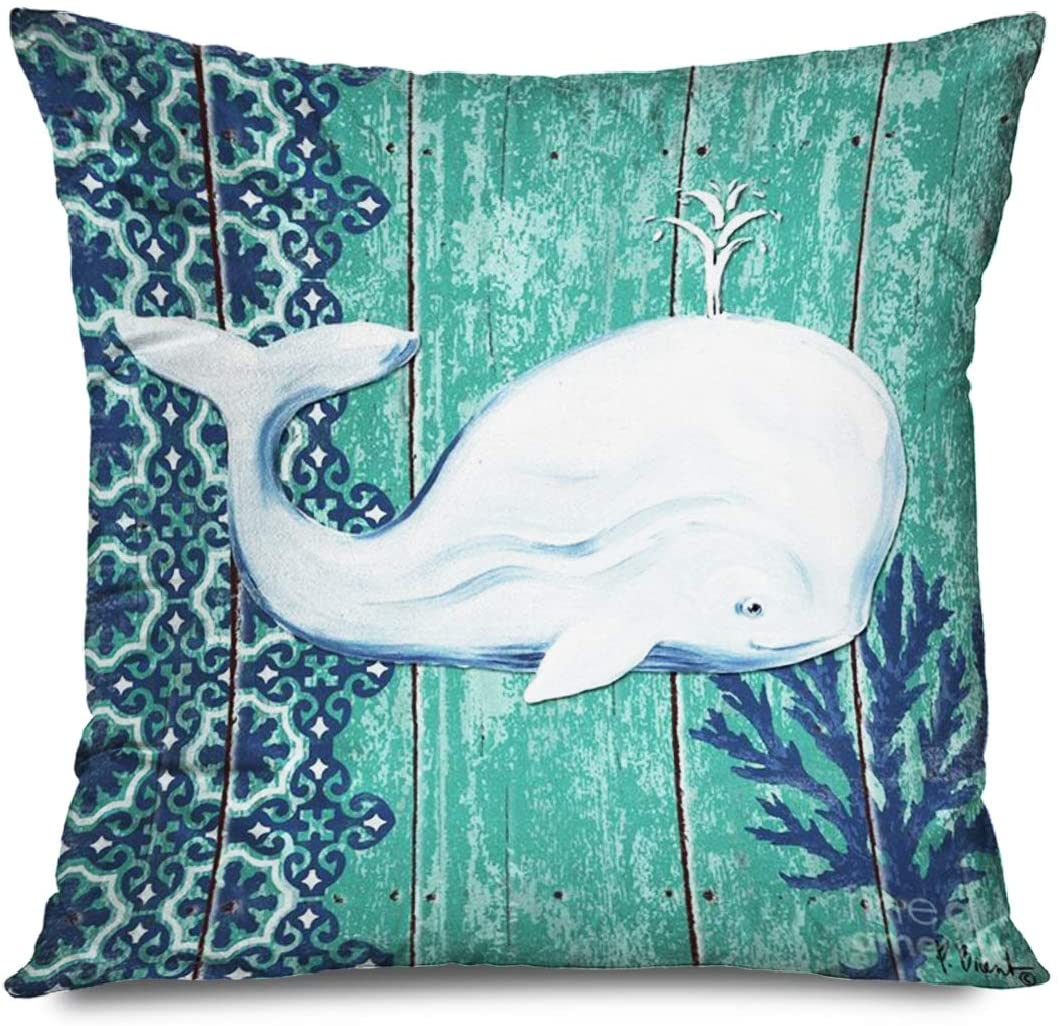 FAREYY Sea Pillowcase Sea Theme Nautical Green Whale Decorative Throw Pillows Cushion Cover for Bedroom Sofa Living Room 18 x 18 Inches
