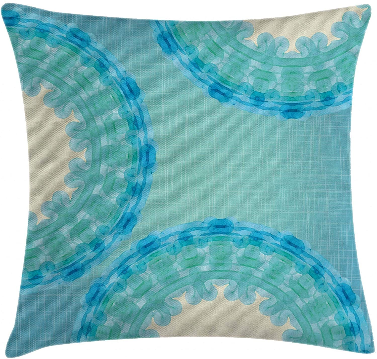 Ambesonne Aqua Throw Pillow Cushion Cover, Tie Dye Effect Image Mandala Ombre with Circles Rounds Ethnic, Decorative Square Accent Pillow Case, 24
