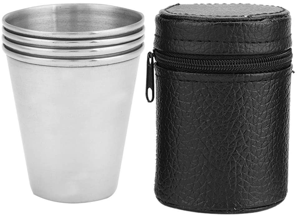 Ponacat Portable Cups Set Mouthwash Cups 4Pcs Stainless Steel Travel Outdoor Camping Cups Set with Storage Bag for Water Beer Tea Coffee White Wine Cups