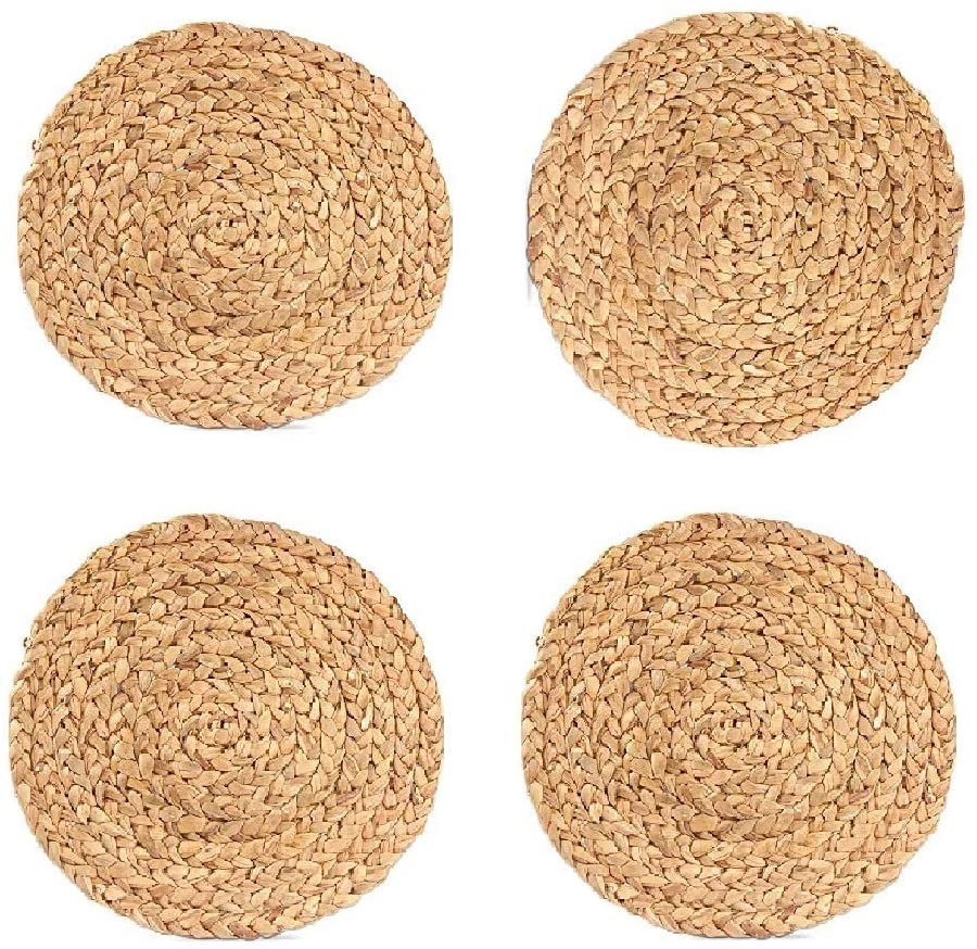 WENFOME Pack of 4 Water Hyacinth Woven Placemats, Round Braided Placemats, Heat-Resistant Non-Slip Woven Handmade Placemats for Dining Table (15 inch)