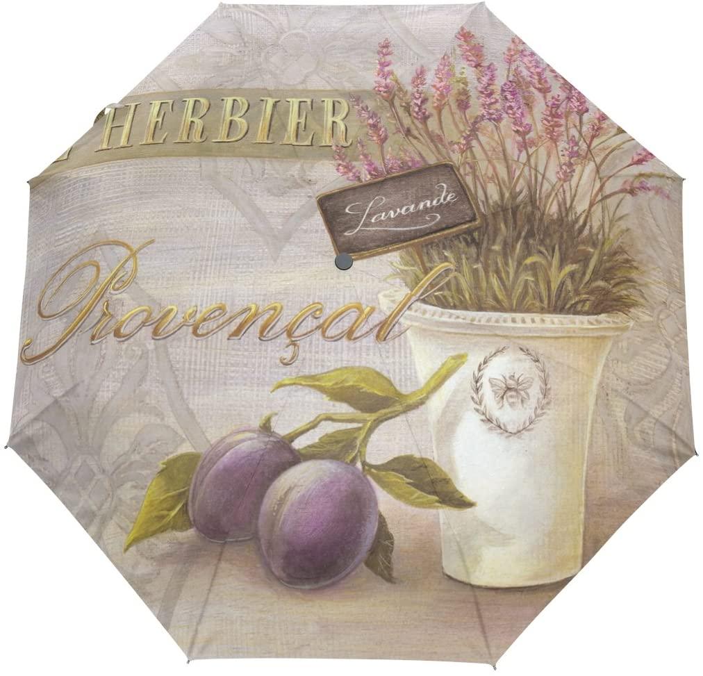 YZGO Art Vintage Purple Lavender Compact Umbrella UV Anti Waterproof Umbrella