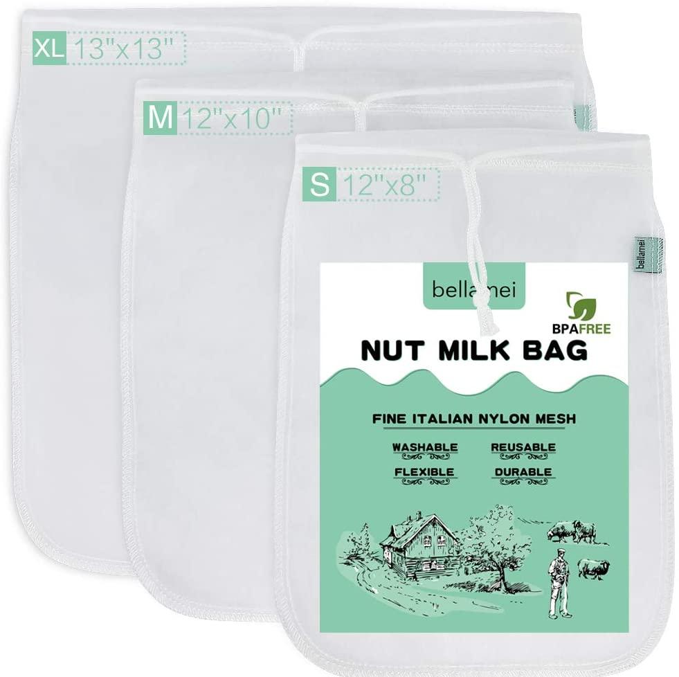 Bellamei Nut Milk Bag Reusable 3 Pack 200 Micron Nut Bags For Almond/Soy Milk Greek Yogurt Professional for Cold Brew Coffee Tea Beer Juice Fine Italian Nylon Mesh