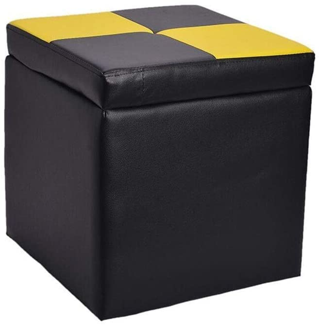 Faux Leather Storage Ottoman Cube with Hinged Lid Coffee Table Stool, Household Stool HENGXIAO (Color : #4)