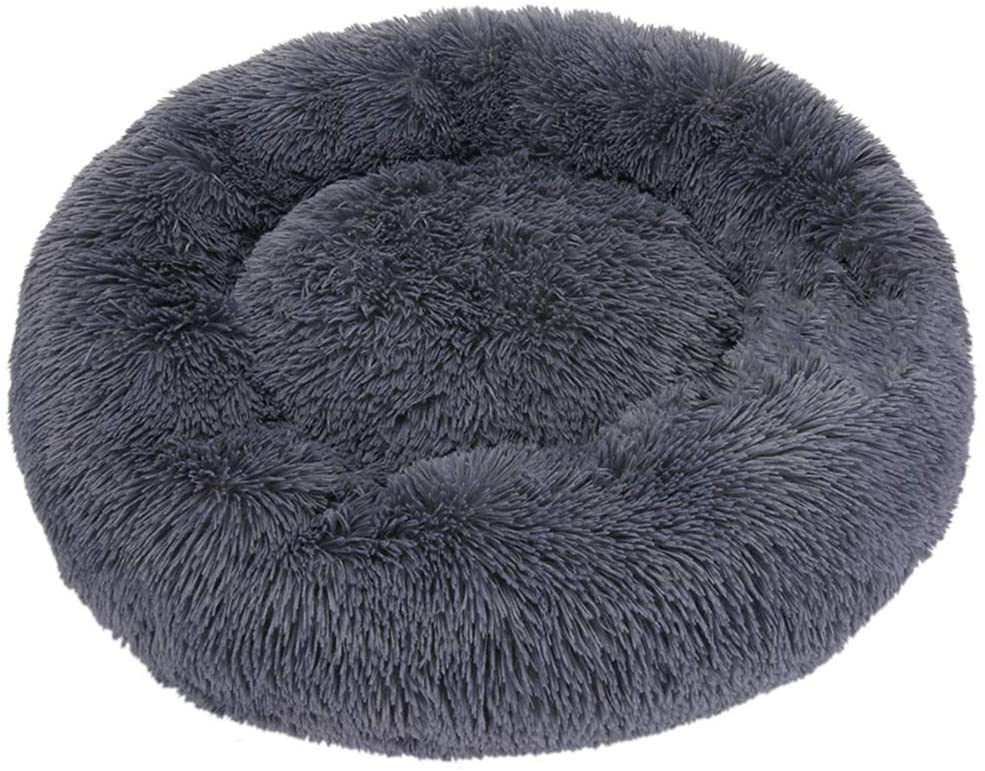 PORT&LOTUS Cat and Dog Bed for Small Dogs, Cat Beds for Indoor Cats with Machine Washable, Waterproof Base, Fluffy Anti-Slip Cat Calming Donut Cuddler Bed, Durable Soft Cushion for Mini Sized Pet