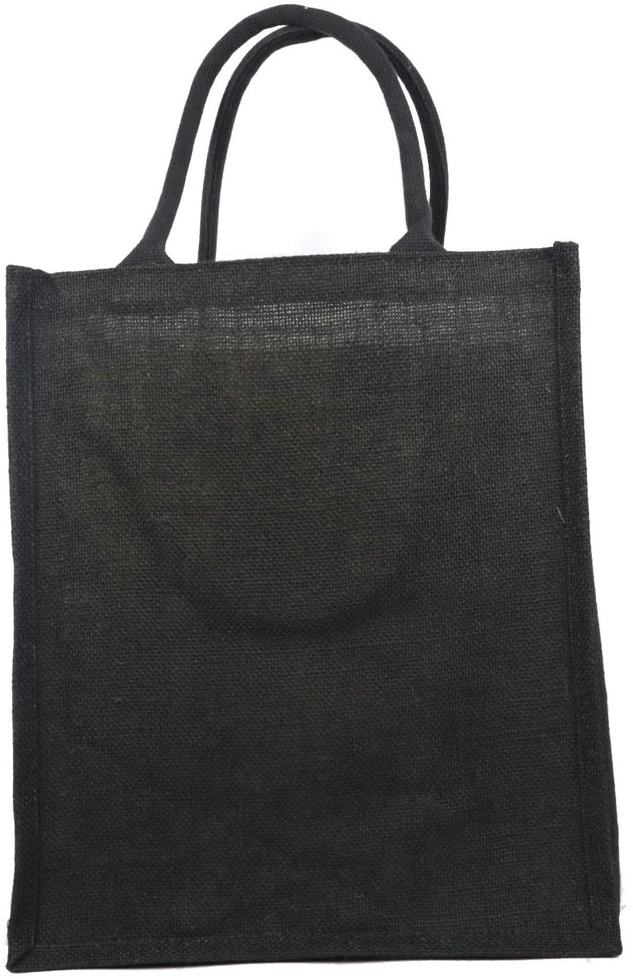 6 Bottle Wine Beer Bag, Jute Burlap Gift Carrier Tote Reusable Eco-Friendly Bags, Size 7.5
