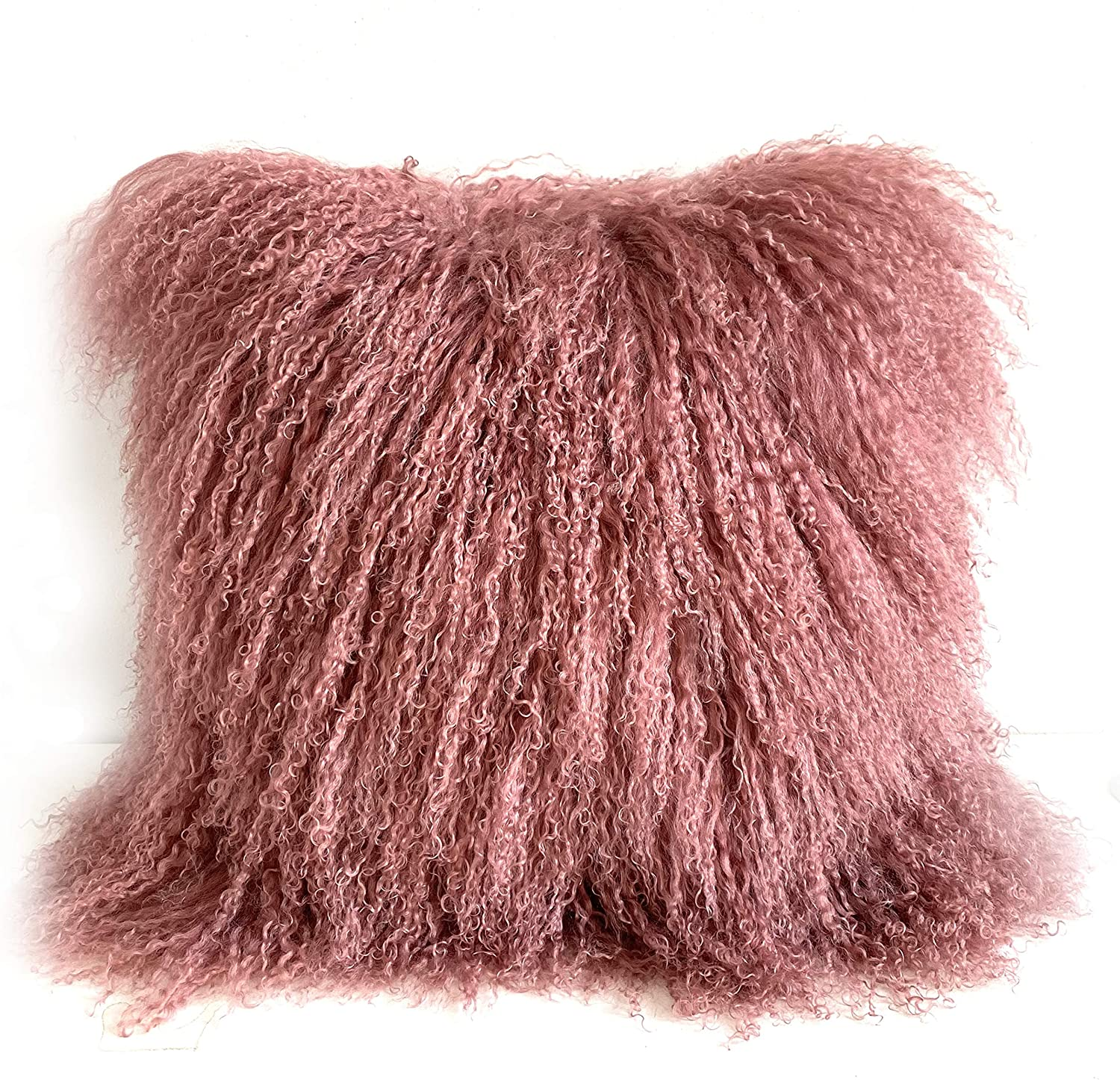 KumiQ 100% Real Mongolian Lamb Fur Curly Wool Pillow Cushion,Home Decorative Sheepskin Throw Pillow with Insert Included (Pink Mauve, 18x18 Inch)