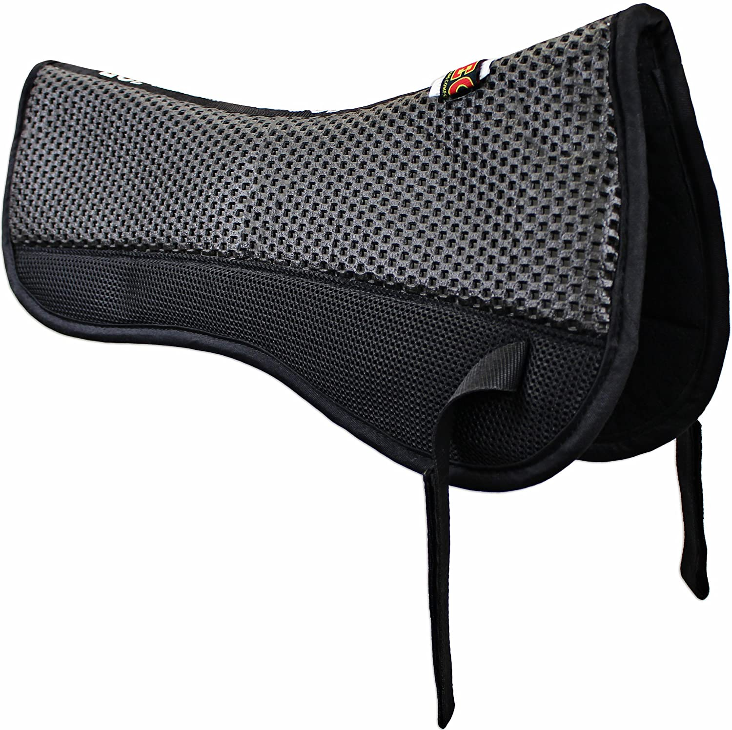 ECP All Purpose Grip Tech Half Saddle Pad Non Slip Top Brushed Cotton Bottom Compression Foam Breathable Shock Absorbing Moisture Wicking with Mesh Flaps