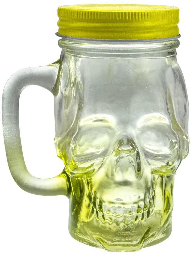 Mason Jar Skull Glass Drinking Mug 12 Ounce with Lid and Handle - Translucent Glass Mug and Stash Jar (Yellow, 6)