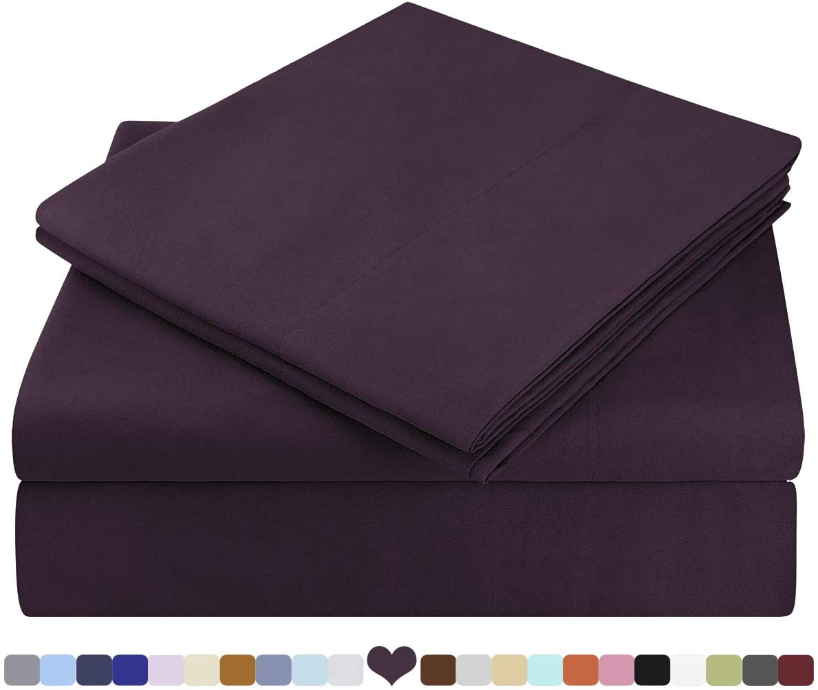 HOMEIDEAS Bed Sheets Set Extra Soft Brushed Microfiber 1800 Bedding Sheets - Deep Pocket, Wrinkle & Fade Free - 3 Piece(Twin XL,Purple)
