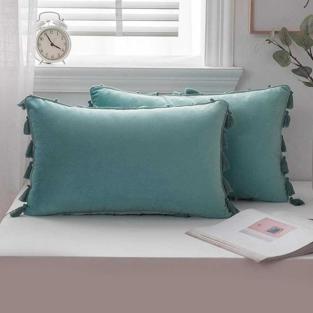 ANRODUO Pack of 2 Velvet Throw Pillow Covers with Tassels Boho Cushion Case Soft Decorative Solid Rectangle Cozy Modern Home Pillowcase for Sofa Couch Bed Chair 12 x 20 Inch 30 x 50 cm Aqua Green