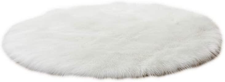 heaven2017 Home Bedroom Floor Round Soft Fluffy Seating Chair Sofa Rug Carpet Cover Cushion Bathroom Pad White 45cm