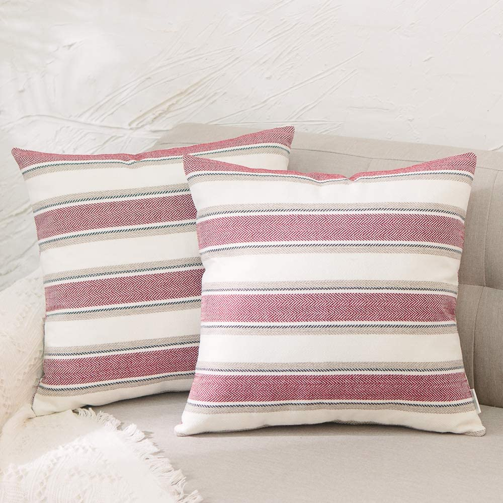 NATUS WEAVER 2 Pcs Stripe Pillow Case Soft Linen Square Decorative Throw Cushion Cover Pillowcase with Hidden Zipper for Sofa 24 x 24
