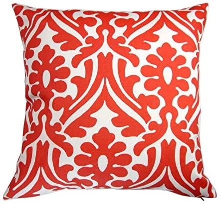 Artisan Pillows 18-inch Indoor/Outdoor Modern Geometric Damask in Orange or Navy Blue - Throw Pillow (Set of 2) Orange