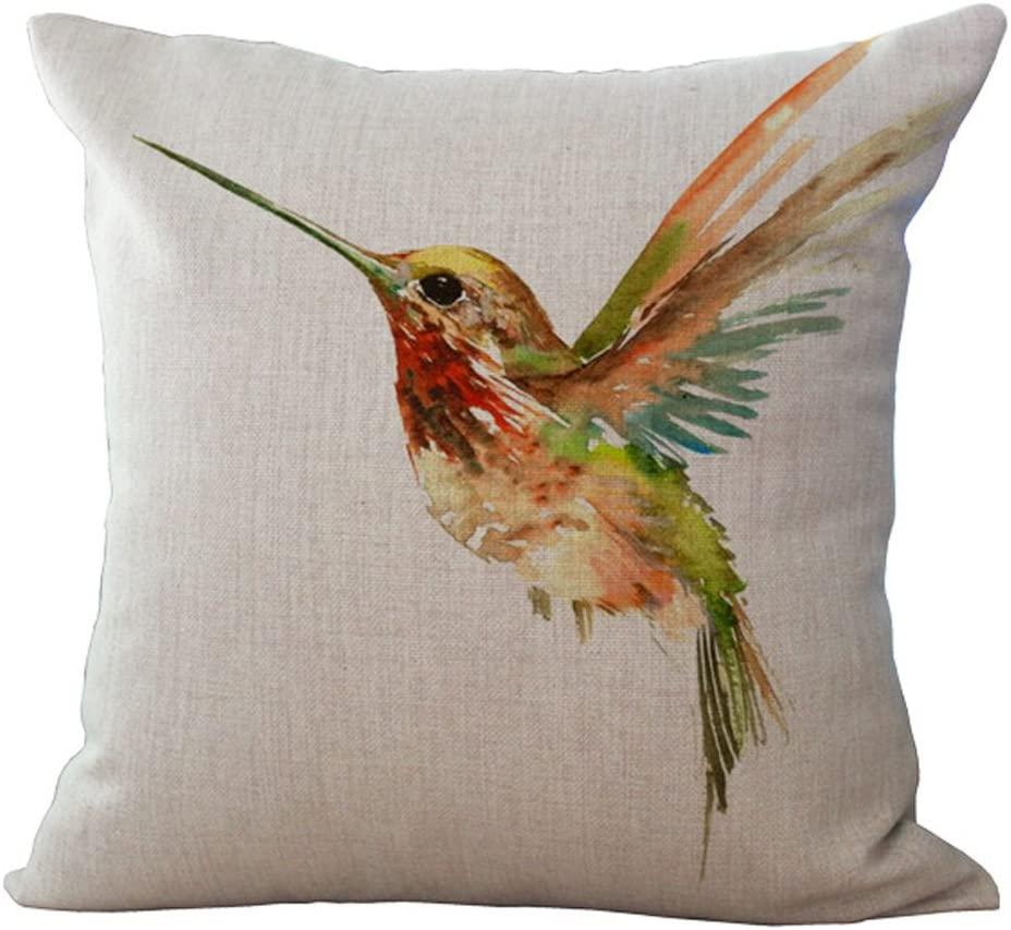 Hengjiang Cotton Linen Cushion Cover Decorative Throw Pillow Case Sofa Ink Painting Birds (03)