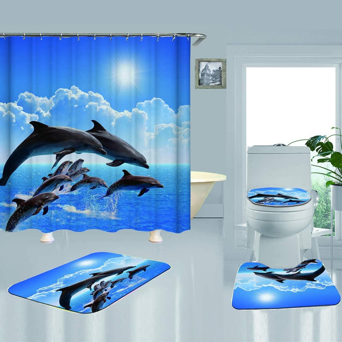 SH-RuiDu 4pcs/Set Ocean Print Non Slip Toilet Lid Cover Bath Mat Set Waterproof Shower Curtain with 12 Hooks for Home Bathroom