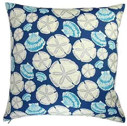 Artisan Pillows 18-inch Indoor/Outdoor Beach House Sea Sand Dollar in Indigo Blue - Throw Pillow (Set of 2)