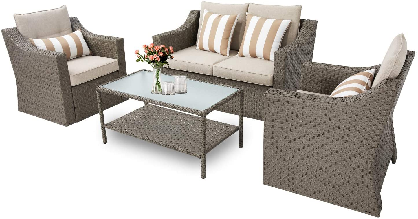 Oakmont 4-Piece Patio Conversation Set Outdoor Wicker Furniture Sofa Set with Beige Olefin Fiber Cushions and Coffee Table (Grey)