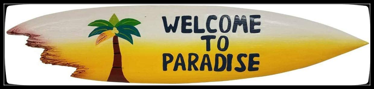 Seas Imports Welcome To Paradise With Palm Tree Sharkbite Surfboard Wall Art Decoration Tin Sign 4x16 inch