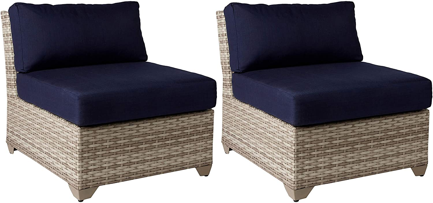 TK Classics Fairmont Armless Sofa, Set of 2, Navy