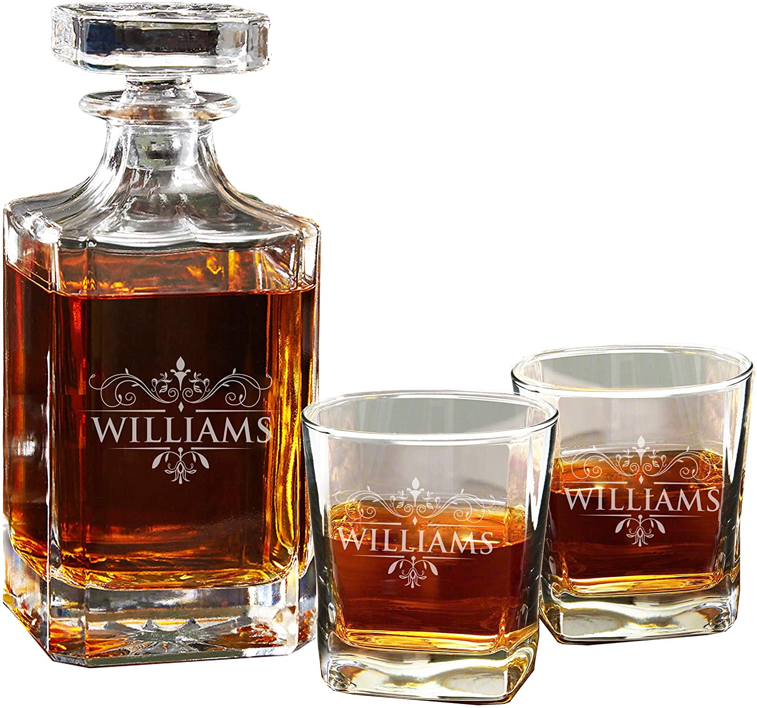Personalized Whiskey Decanter and 2 Rocks Glasses Set - Custom Engraved with Antique Design