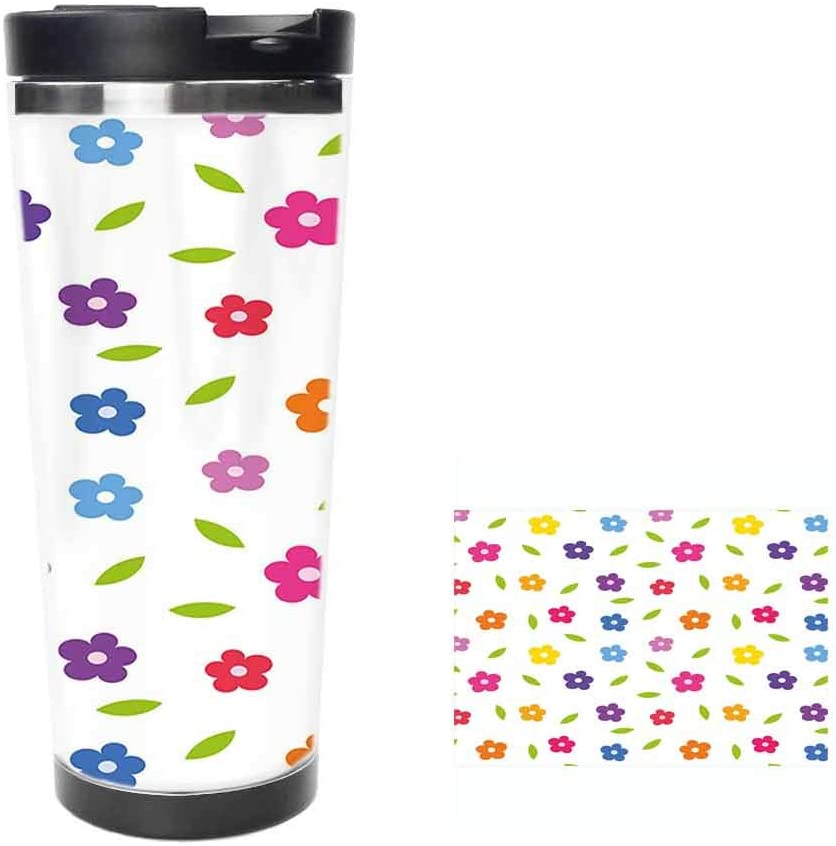 Vibrant Colored Daisies Leaves Spring Nature Meadow Doodle Boys Girls PlayroomCoffee Cup,Drinking Cup, Female Male,Double stainless steel vacuum insulation,Thermos cup-14 oz-397ML