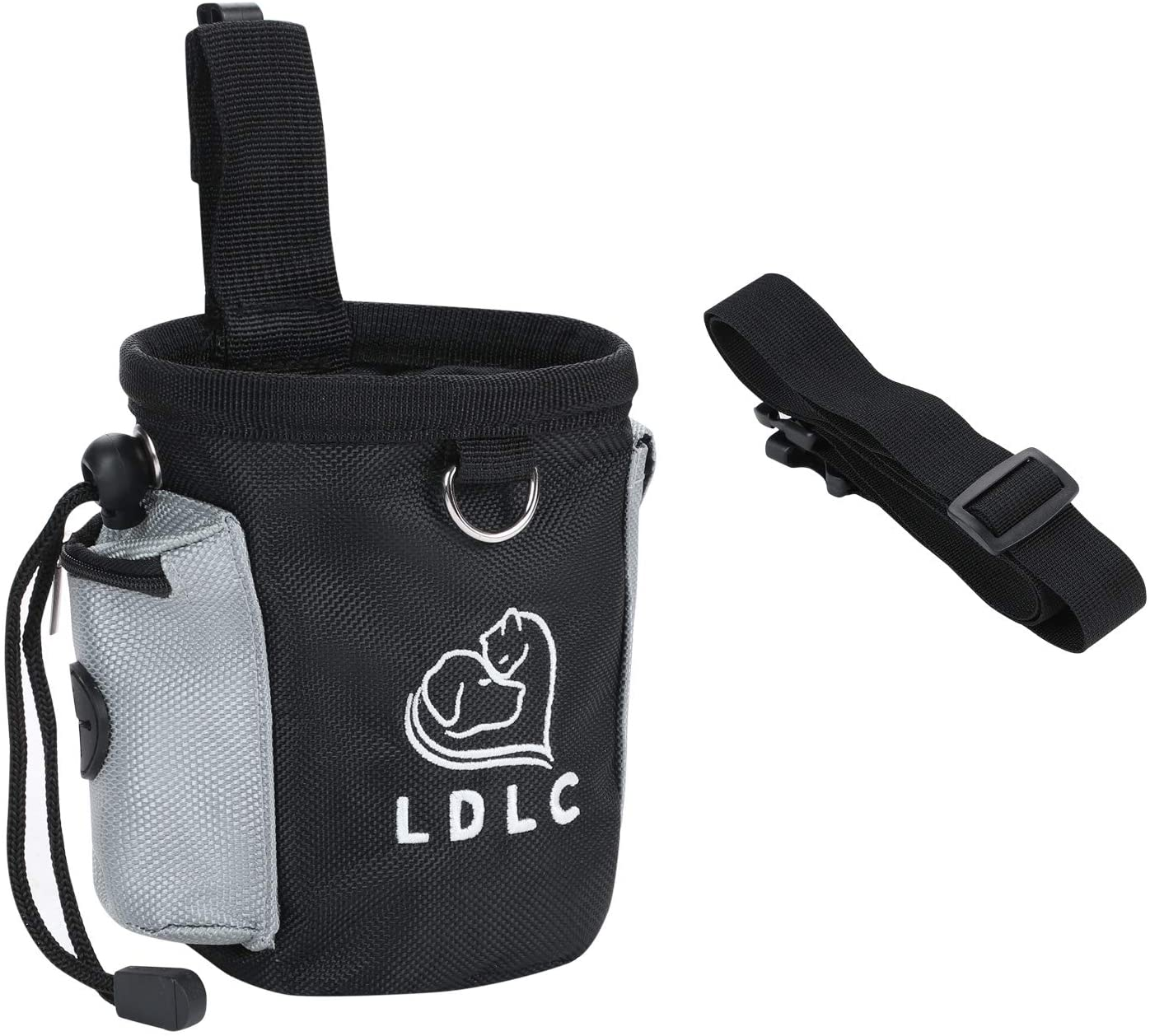 Dog Treat Bag Portable Pet Treat Trainting Pouch for Puppy Small Dog Bait Holer Food Storage Container with Adjustable Waist Strap and Poop Bag Dispenser, Easily Carries Treats, Kibbles, Pet Toys