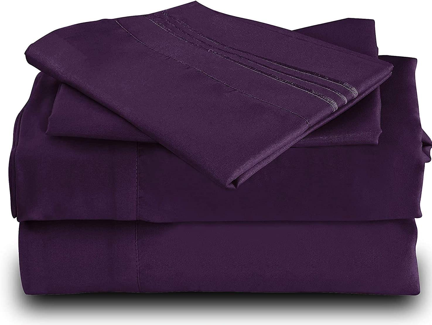 Cool Bamboo Bed Sheet Set - Double Brushed Extra Soft Cool Fiber - Easy Care, Wrinkle Free, Deep Pockets, Hypoallergenic, Eco-Friendly, Anti-Pilling, Stain and Fade Resistant - 4 Piece (Purple/Queen)