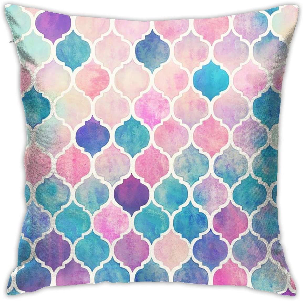 Colorful Geometric Trellis Chain Throw Pillow Cover 18X18, Double Side Design Bolster Pillowcase, Decorative Cushion Pillow Case for Car Sofa Theme Brithday Party Bedroom Decor Kid Girls Boys