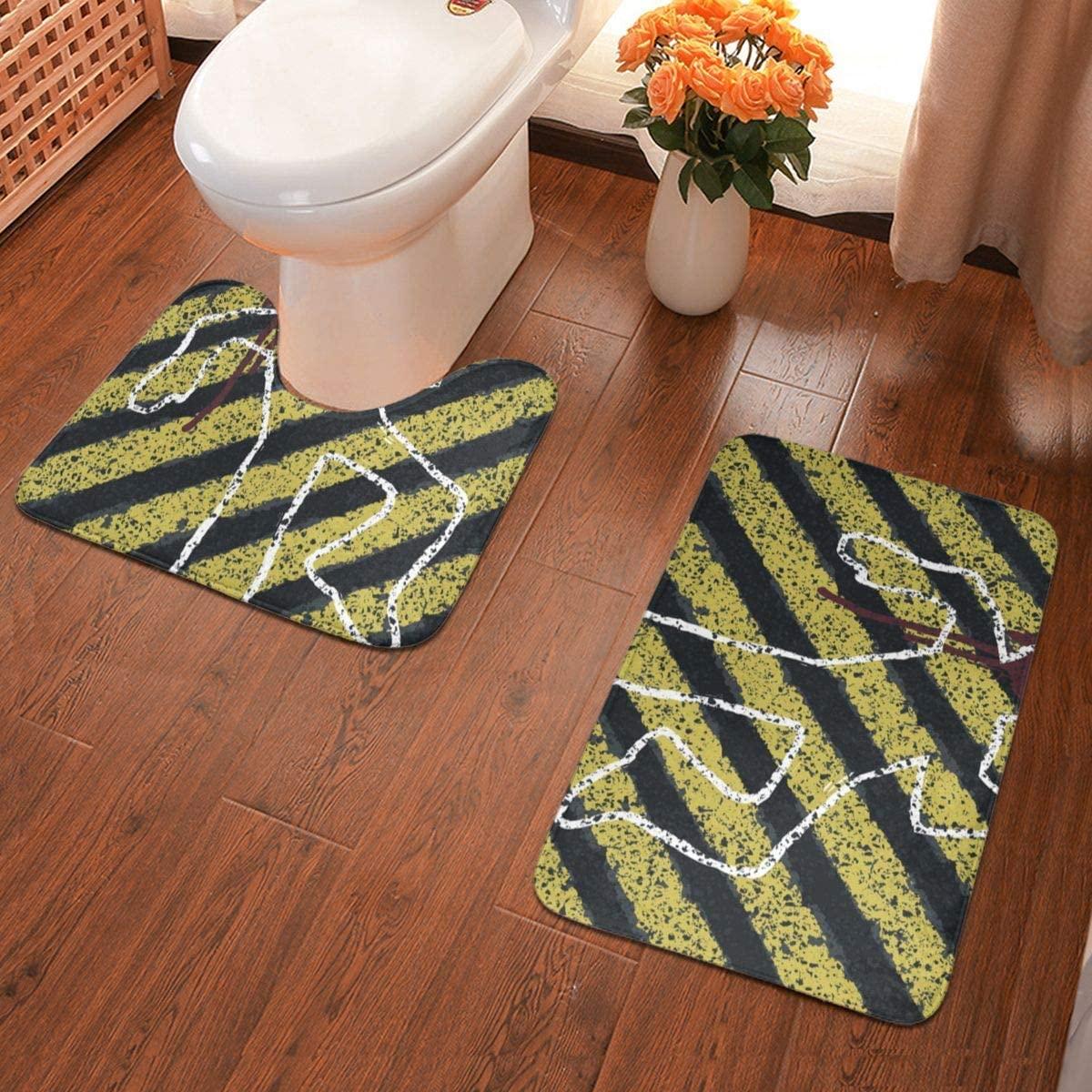 NiYoung Cozy Toilet Carpet Rugs Murder Crime Scene 2 Pack Bathroom Rug Shag for Bath Room Hotel & Spa, Fast Dry Anti Slip Nursery Rugs -1 Floor Pad Rugs + 1 U-Shaped Bath Rug