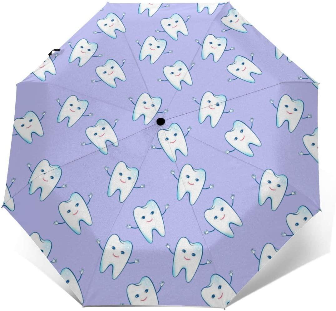 Windproof Travel Kawaii Teeth Purple Umbrella Compact Automatic Open Close Folding Umbrellas Fit Handbag Backpack Compact Portable Rain/Sun Protection Umbrellas For Men Women