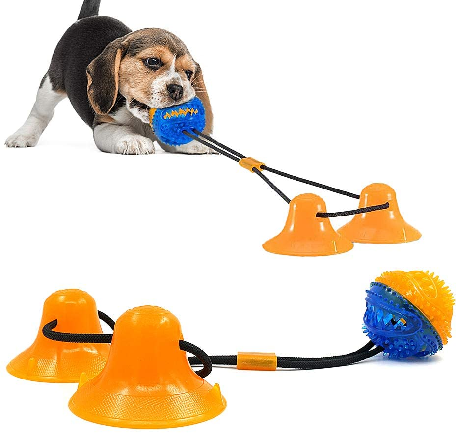 Pasking Suction Cup Dog Toy, Self Playing Dog Toy Interactive Pet Molar Bite Tug Toy with Durable Rope Pet Treat Ball and 2 Suction Cups for Tug of War Teeth Cleaning and Chewing