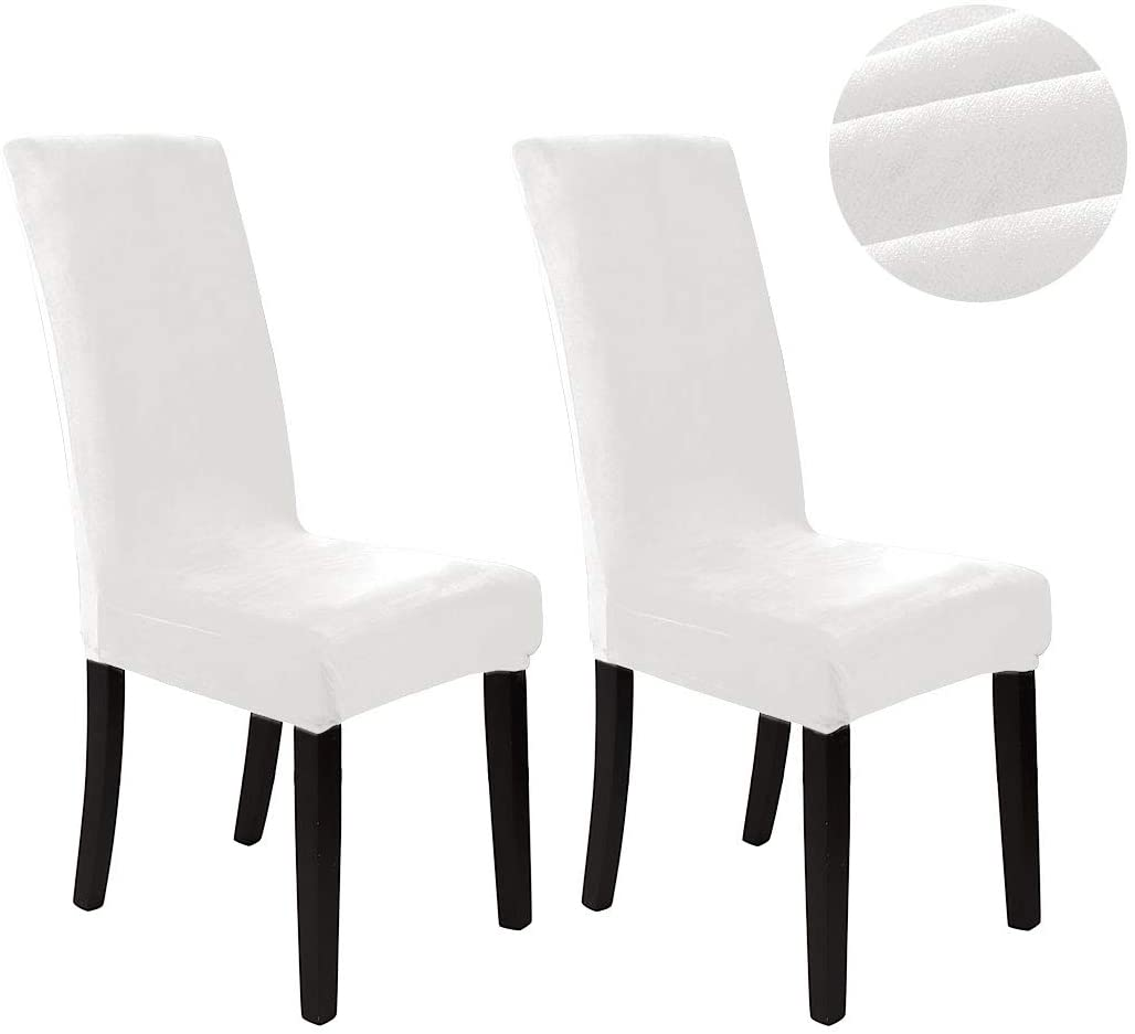 PiccoCasa Velvet Spandex Fabric Stretch Dining Room Chair Slipcovers Super Fit Chair Protector Home Decor Set of 2 Washable, White Medium