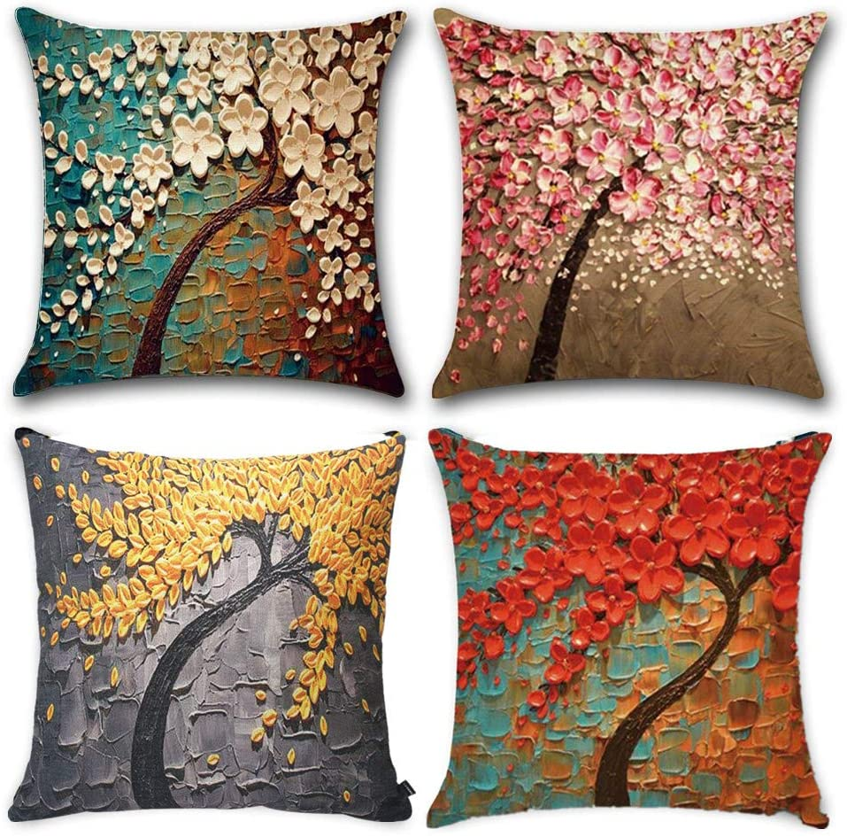 Unibedding Decorative Outdoor Floral Tree Throw Pillow Cover 18x18 Inch Soft Cotton Linen Flower Pillowcase for Sofa Bedroom, 4 Pack Pink Red Yellow Blue