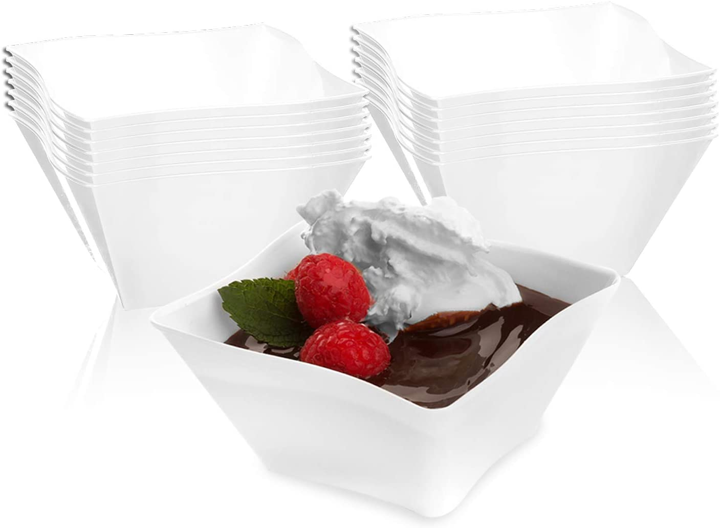 Elegant Disposable Plastic Bowls 120 Pcs - 14 oz Heavy Duty Fancy Wave White Soup Bowls – Reusable Bulk Party Dessert Cereal Salad Bowls For Wedding, Christmas, Thanksgiving, Birthday & All Occasions