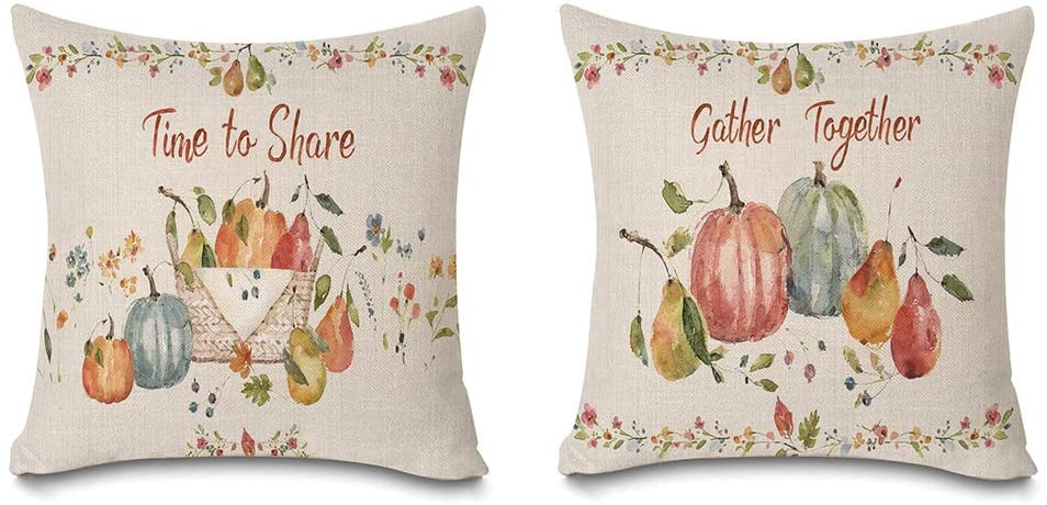 Faromily Fall Quotes Pillow Covers Farmhouse Pumpkin Leaves Time to Share Gather Together Home Decor Cushion Covers Throw Pillow Cases Cotton Linen 18 x 18 inch Set of 2
