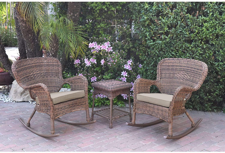 3-Piece Honey Brown Wicker Outdoor Furniture Patio Conversation Set - Tan Brown Cushions