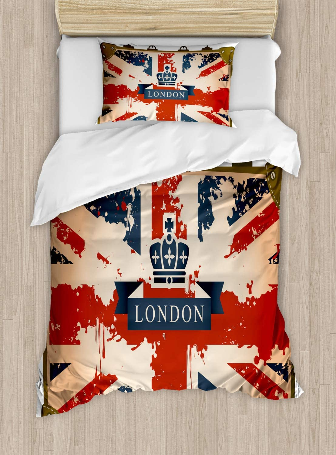 Ambesonne Union Jack Duvet Cover Set, Vintage Travel Suitcase with British Flag London Ribbon and Crown Image, Decorative 2 Piece Bedding Set with 1 Pillow Sham, Twin Size, Blue Brown