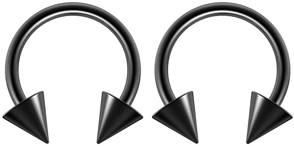 2pc 14g Surgical Stainless Steel Rose Gold Rainbow Black Horseshoe Hoop 5mm Spike Circular Barbells Earrings Cartilage Helix Septum Nose Lip Rings - 8mm 10mm 12mm