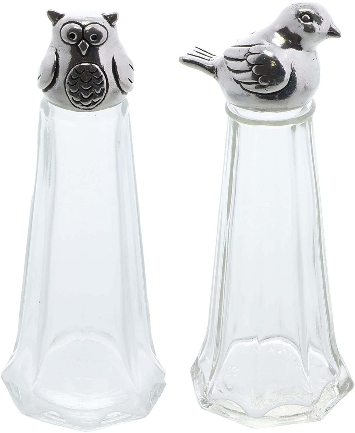 Salt and Pepper Shaker Set Glass with Pewter Top - Bird and Owl