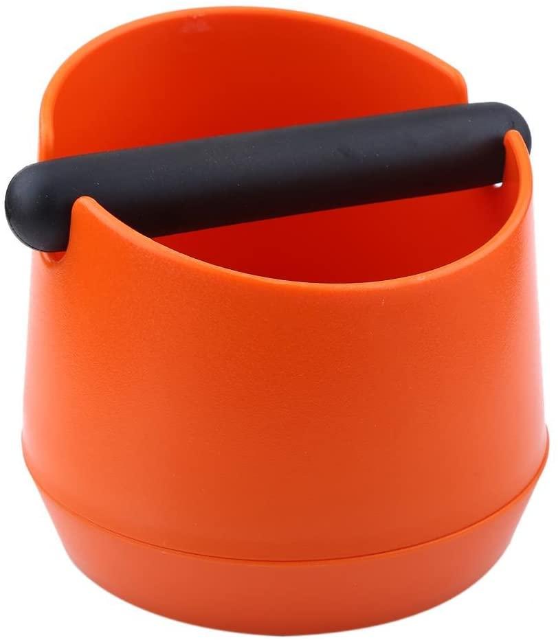 Coffee Knock Box Plastic Coffee Machine Knock Box Residue Bucket Grind Waste Bin With Rubber Bar (Orange residue box)