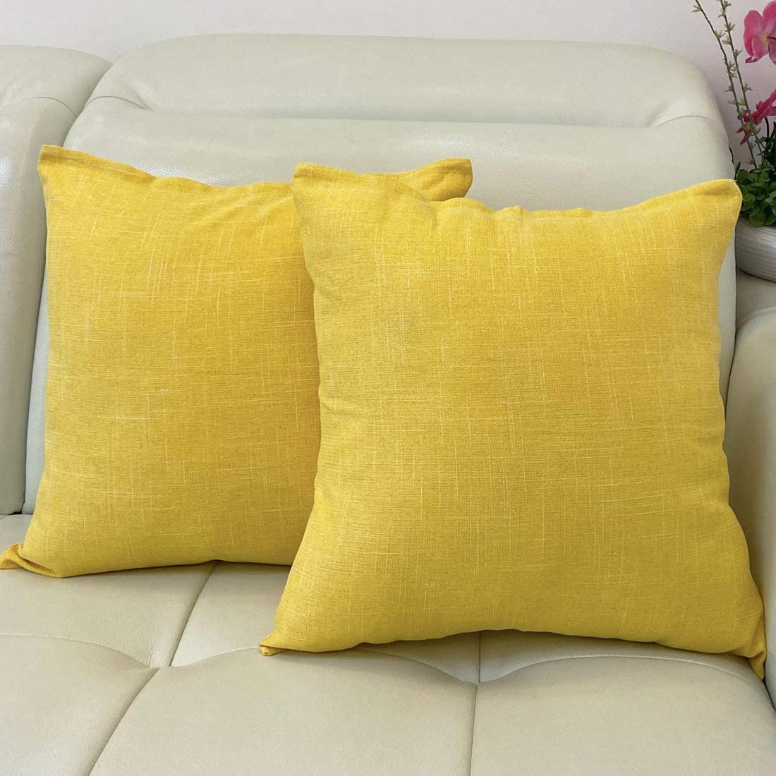 Find-In-Find 20x20 2 Pack Burlap Throw Pillow Cases Cushion Covers Solid Pillow Covers for Sofa Couch Bed,Yellow