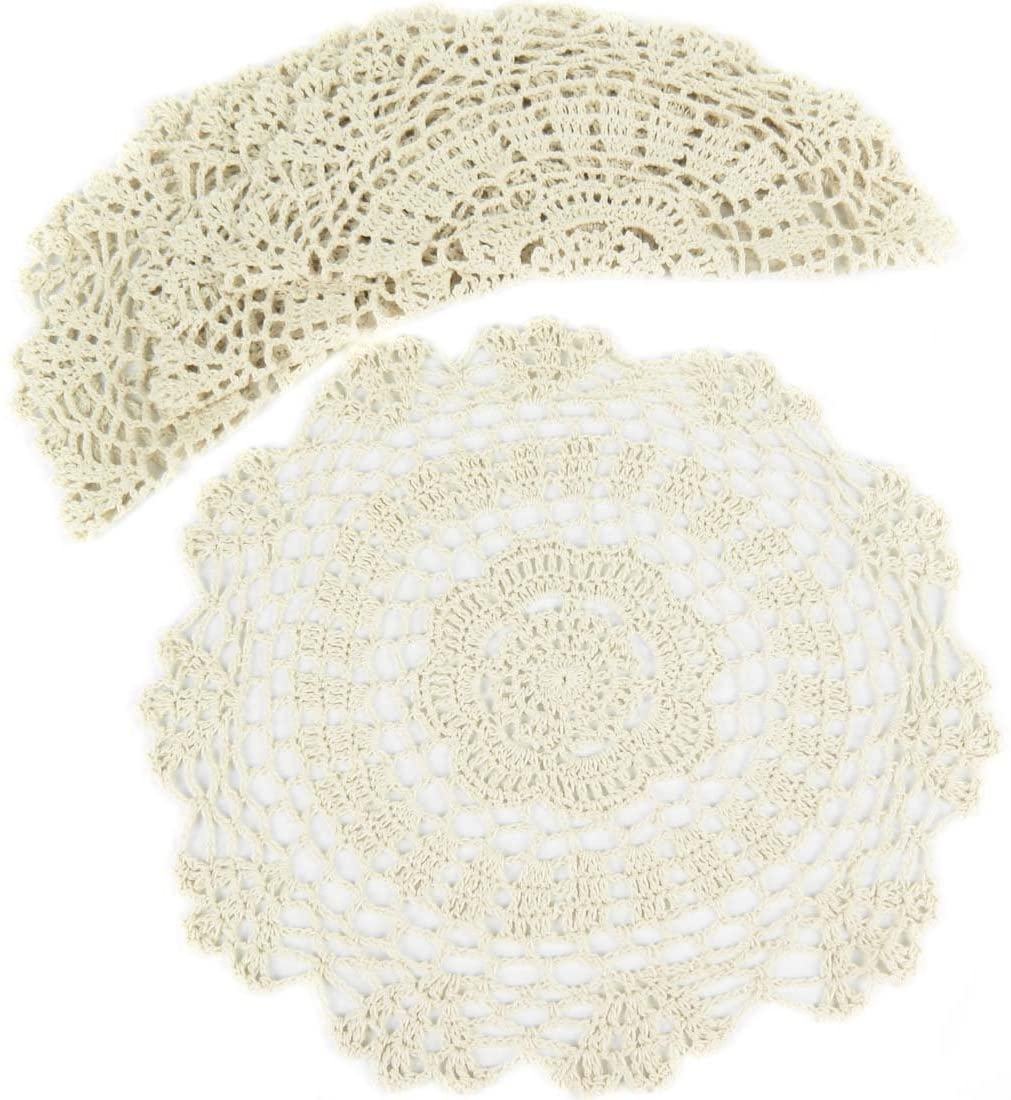 kilofly Crochet Cotton Lace Table Placemats Doilies Value Pack, 4pc, White, Floral, 12 inch