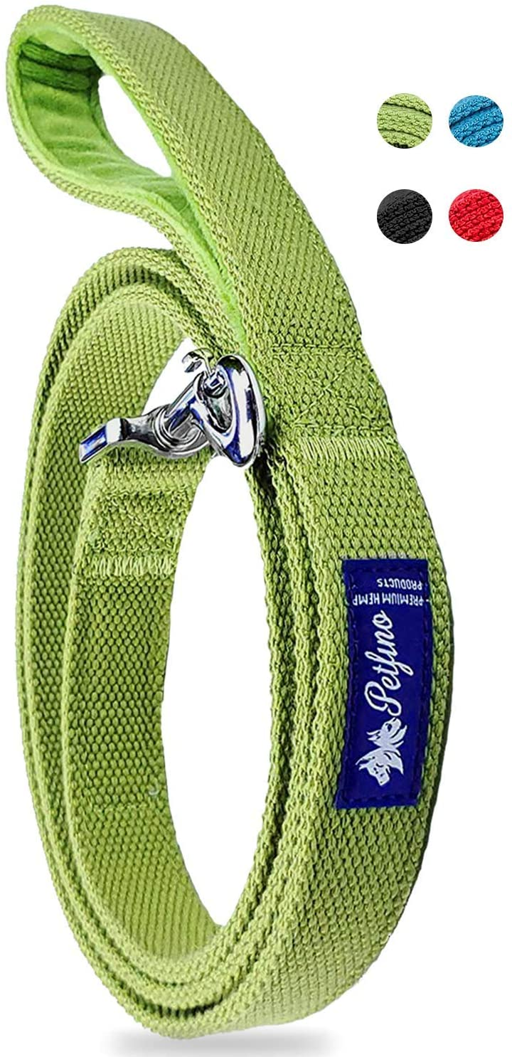 Petfino 100% Hemp Dog Leash with Reflective Safety Strip (5 Feet Long) Hypoallergenic Padded Fleece-Lined Handle for Large,Medium,Small Dog/Pets Strongest Fiber in Nature