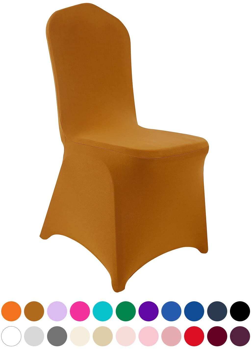 Peomeise 12pcs Stretch Spandex Chair Cover for Wedding Party Dining Banquet Event (Gold, 12)