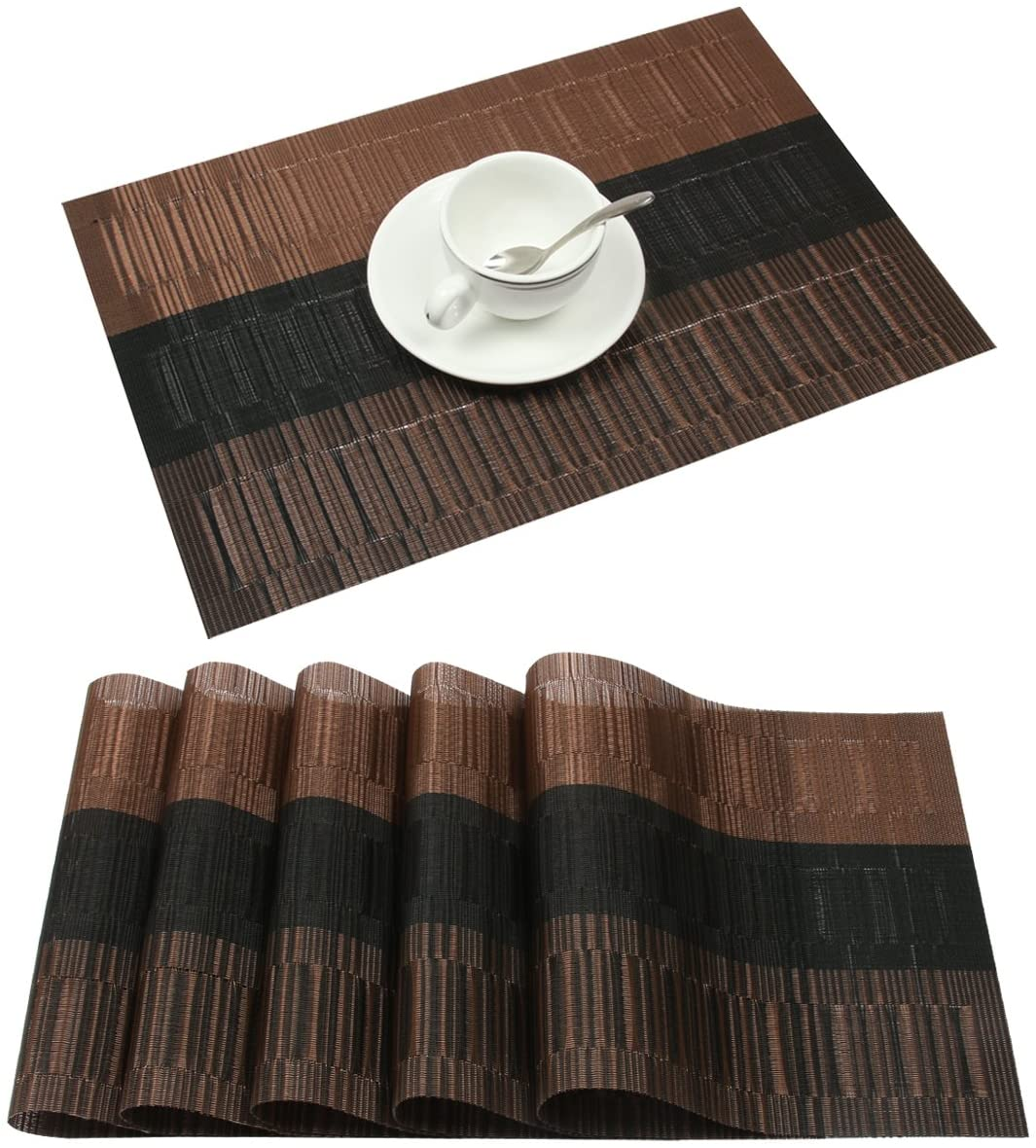 famibay Bamboo PVC Weave Placemats Non-Slip Table Mats for Kitchen Table Set of 6-30x45 cm (Set of 6 Coffee)