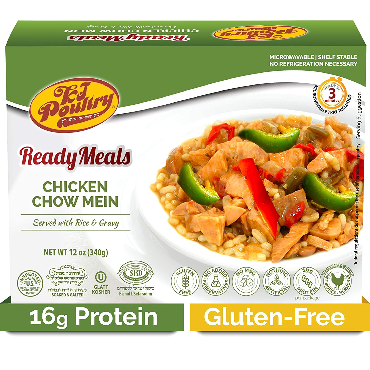 Kosher MRE Meat Meals Ready to Eat, Gluten Free Chicken Chow Mein (1 Pack) - Prepared Entree Fully Cooked, Shelf Stable Microwave Dinner – Travel, Military, Camping, Emergency Survival Protein Food
