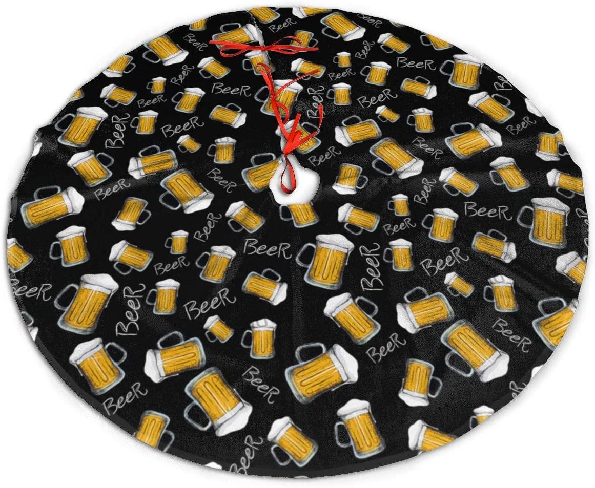 UKURO Countryside Ruffle Xmas Tree Skirt Felt Round Beer Mug Pattern Tree Mat for Xmas Holiday Decorative Gifts