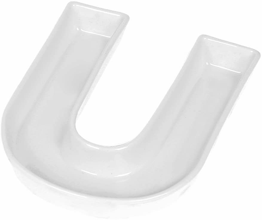 Coffeezone Porcelain Letter Dish & Plates for Candy/Nuts Ideas, Wedding Party Gift (Letter U)